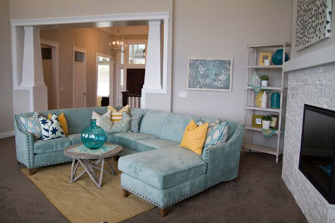turquoise sectional | Four Chairs Furniture + Cadence Homes