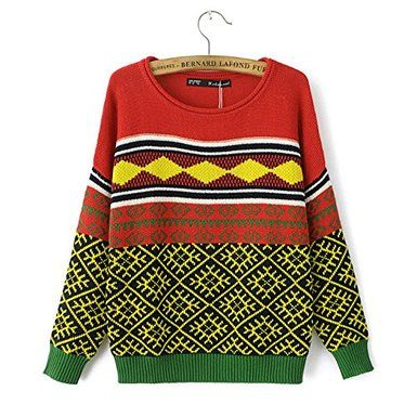 Funshop Woman's Geometric and Stripes Pattern Round Neck Sweater 080850 Color Orange and Yellow Color Khaki Size L