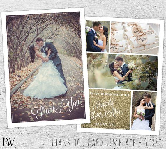 wedding thank you cards photo photoshop template wedding