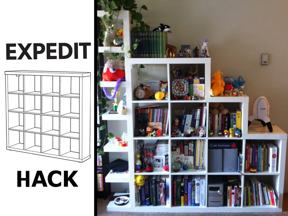 the de squaring and shelf itizing of an expedit unit. Black Bedroom Furniture Sets. Home Design Ideas