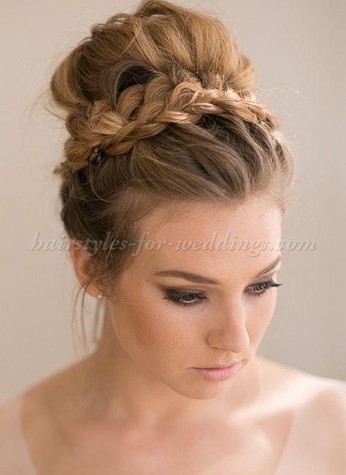 High Bun Wedding Hairstyles Tup Bun Hairstyles For Brides Top Bun Wedding Hairstyle Http Noahxnw Tumblr Co Medium Hair Styles Hair Styles Long Hair Styles