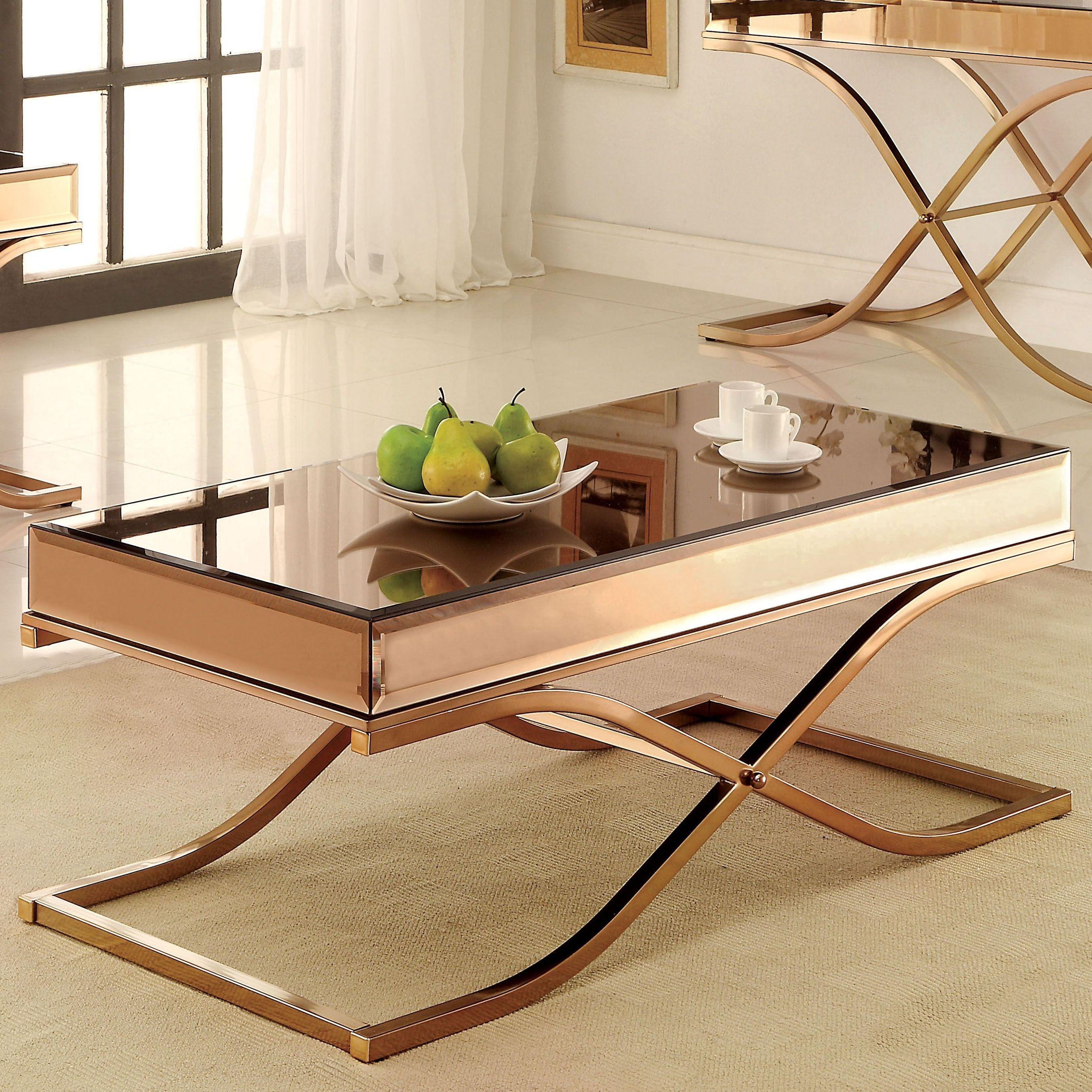 Furniture Of America Orelia Luxury Copper Metal With Smoked Gl Mirror Top Coffee Brown Table Gold