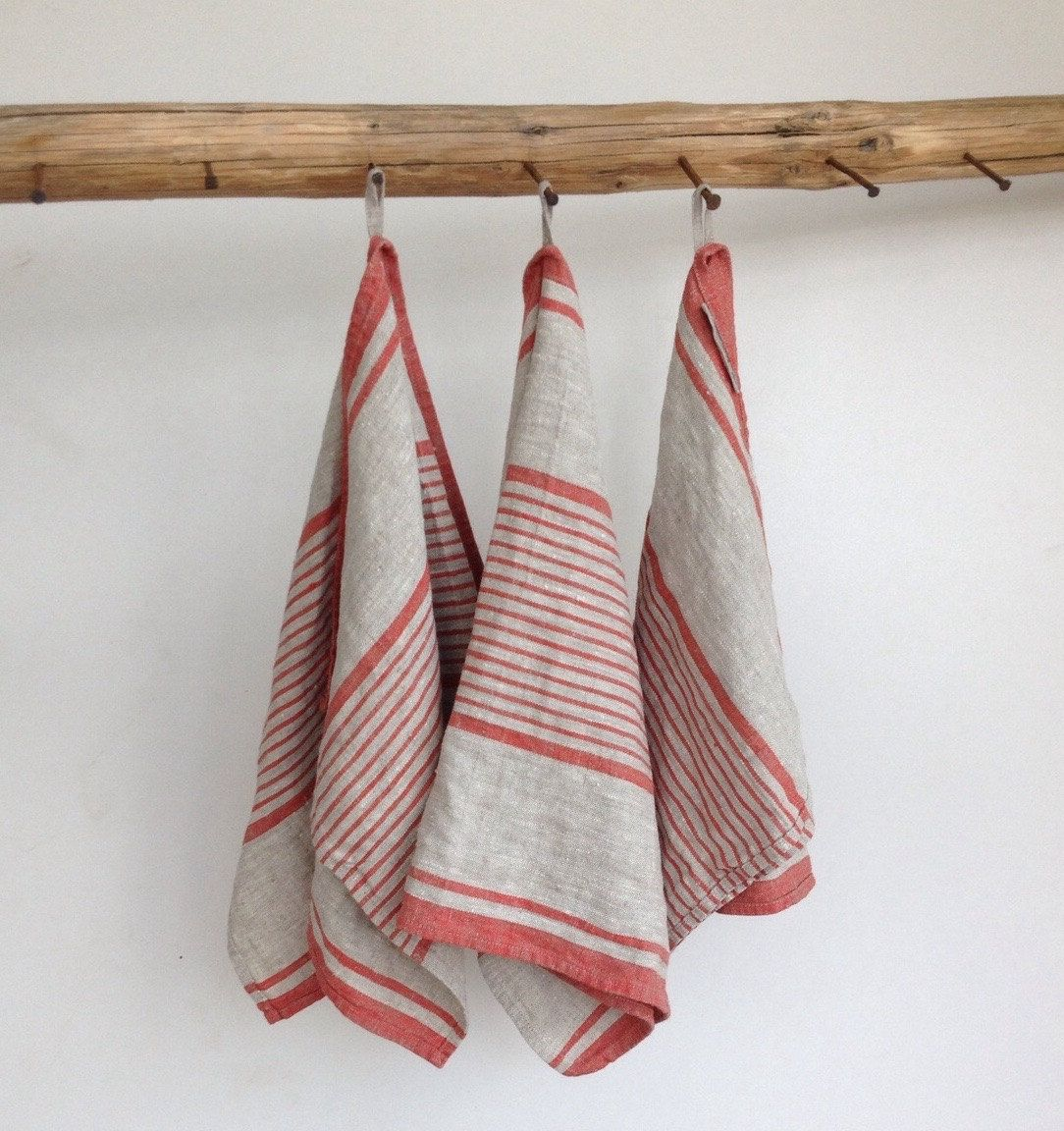 Rustic Linen Tea Towels, Set Of Three French Country Ticking Inspired Dish  Towels, Kitchen