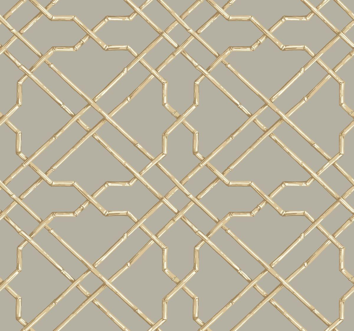 York At7076 Tropics Bamboo Trellis Wallpaper Grey Beige