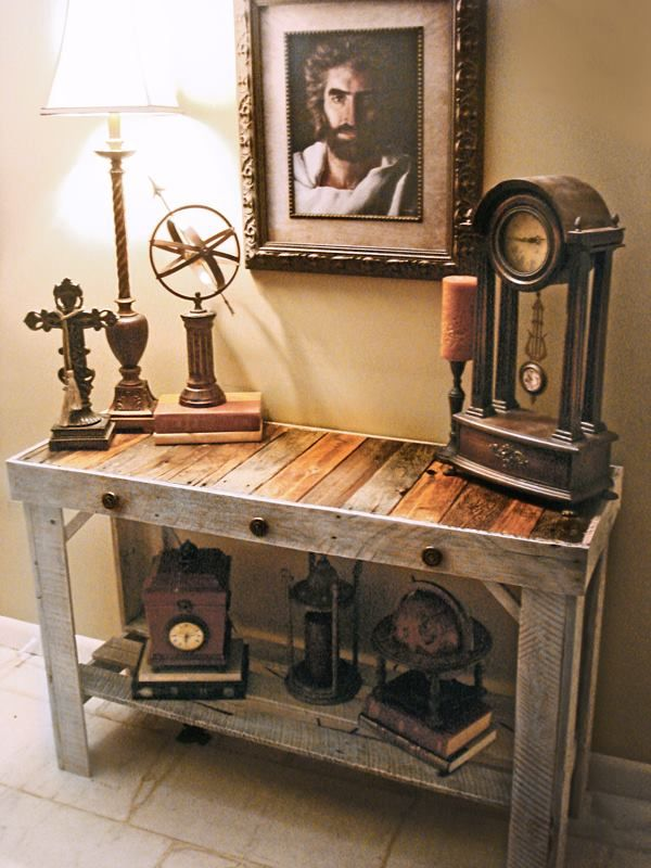 handmade trendy sofa entry table made from reclaimed pallets join the pallet furniture. Black Bedroom Furniture Sets. Home Design Ideas