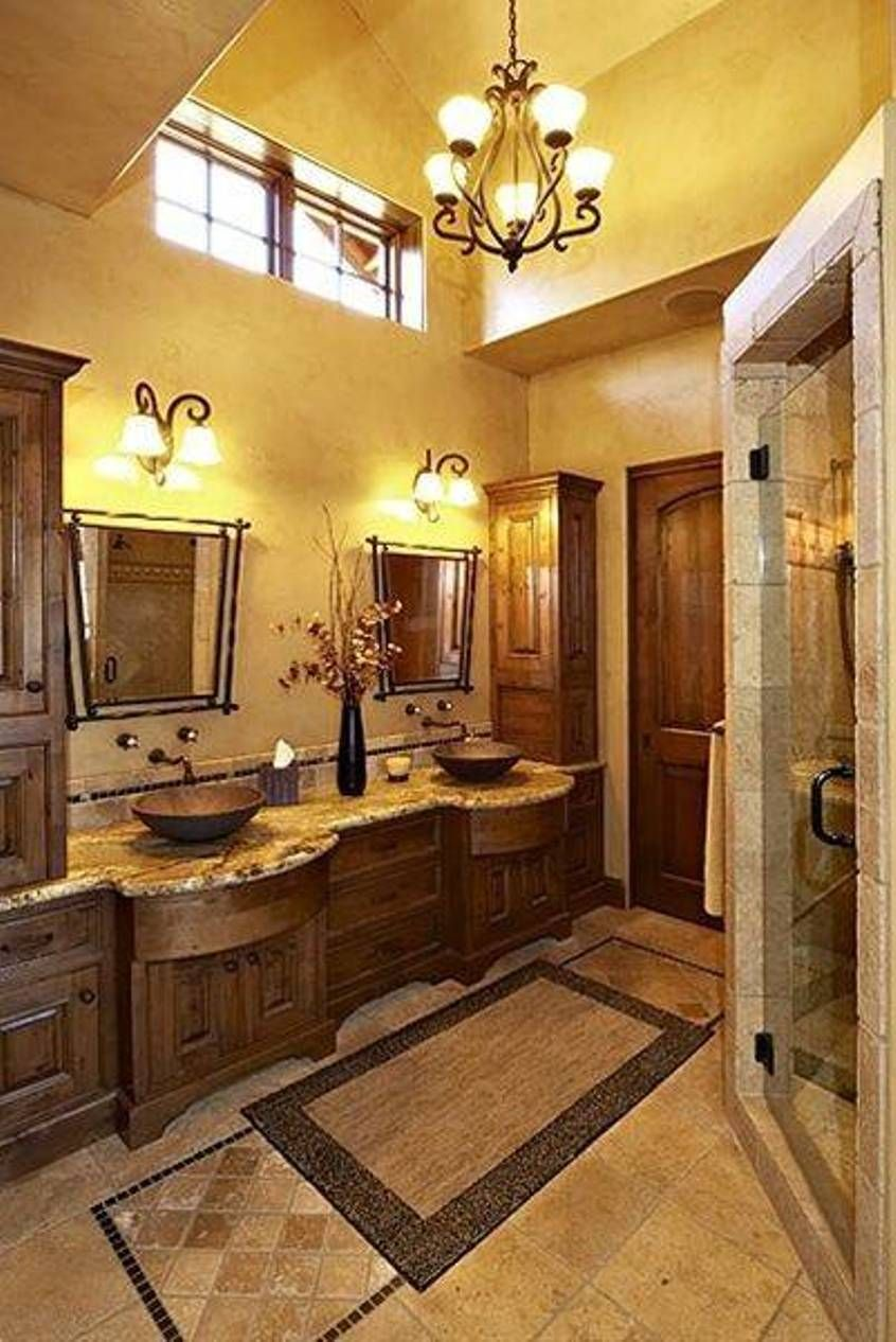 Superbe Bathroom , Inviting Tuscan Bathroom Design : Tuscan Bathroom Design With  Small Chandelier And Yellow Walls