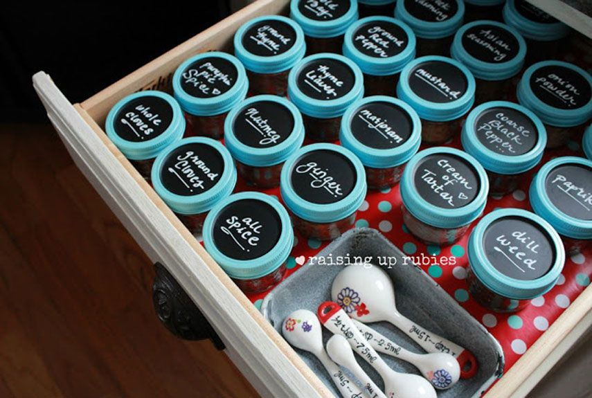 Ditch the hundreds of miscellaneous spice containers in your kitchen cabinet and opt for this organized way to store your spices. Chalkboard tops make it easy to find what you're looking for. Get the tutorial on Raising Up Rubies. - CountryLiving.com
