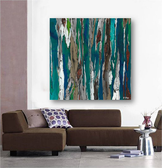 Very Large Blue Teal Canvas Print Wall Art Abstract Landscape Glamorous Wall Art For A Dining Room 2018