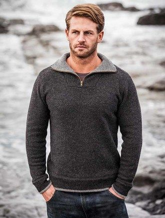 Mens Half Zip Wool Sweater - Charcoal | Knitting Design Inspiration ...