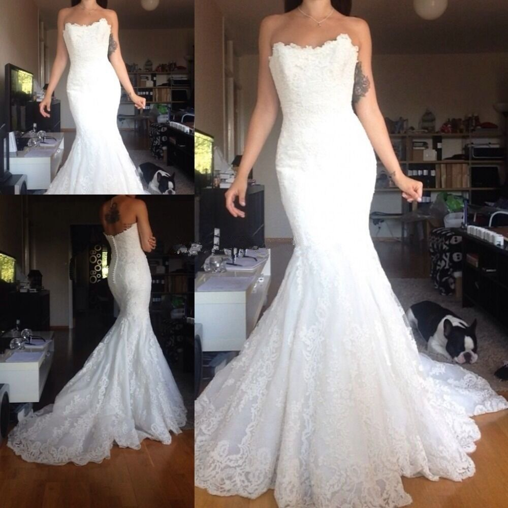 c63b0118fba Lace Mermaid Wedding Dress Bridal Gown Custom Size 2 4 6 8 10 12 14 16 18  20 in Clothing
