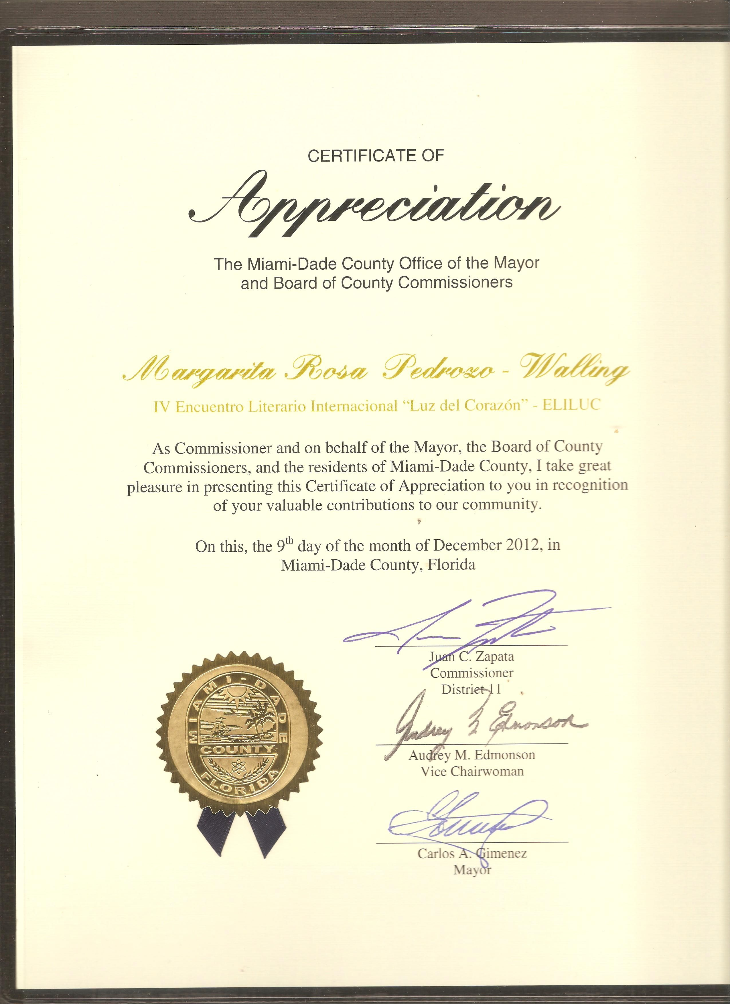 Certificate of AppreciationMiami dade County2012 – Certificate of Appreciation Sample Wording