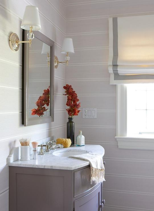 Gray Curved Washstand with Gray Striped Walls - Transitional - Bathroom #graystripedwalls