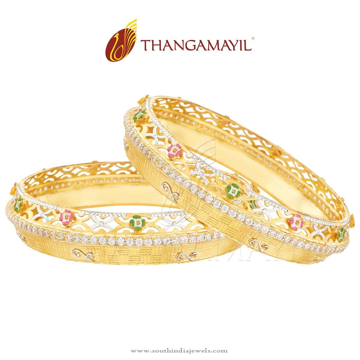 22k Gold Broad Stone Bangle Set From Thangamayil Jewellery ...