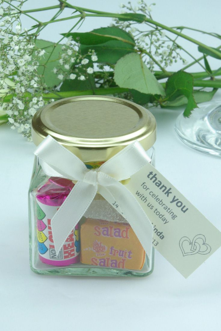 Wedding Favour Sweet Jars With A Personalised Message Tag This Contemporary Gl Sweets Jar Filled