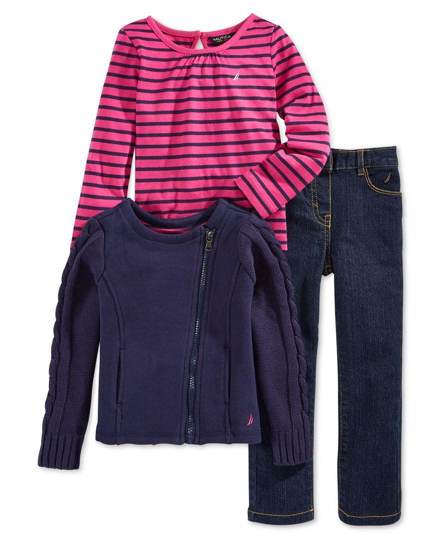 Nautica Toddler Girls' 3-Piece Top, Jacket & Pants Set