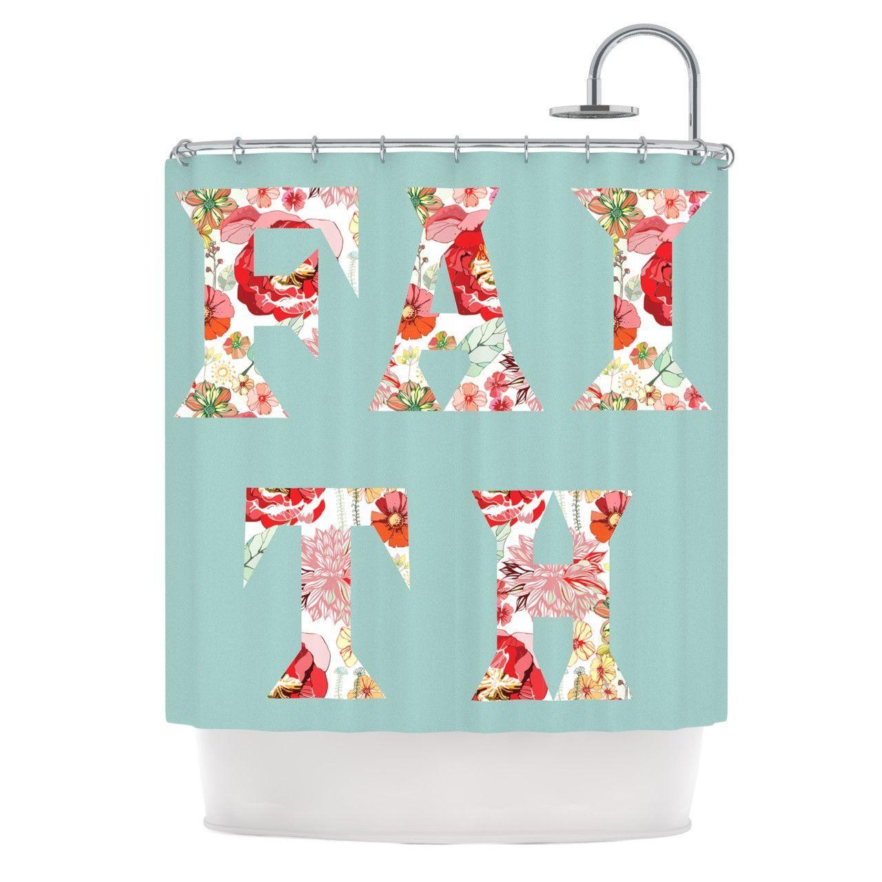 Suzanne Carter Faith Blue Red Shower Curtain Teen Shower