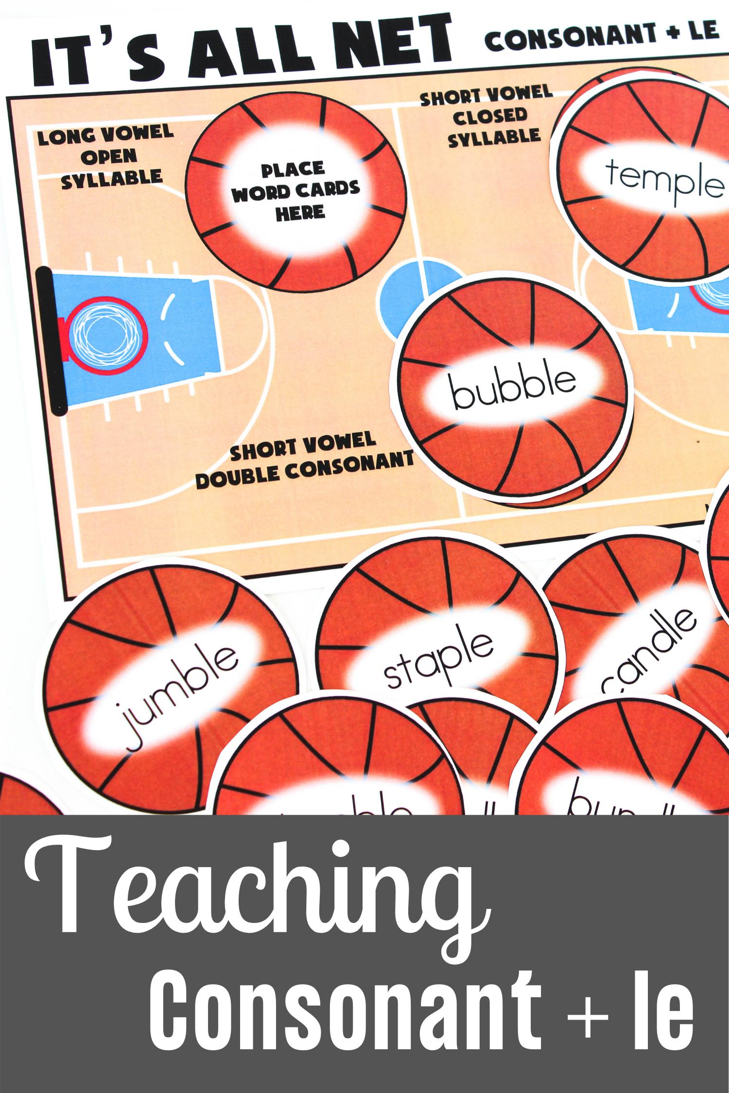Teaching Consonant Le A Basketball Themed Activity In