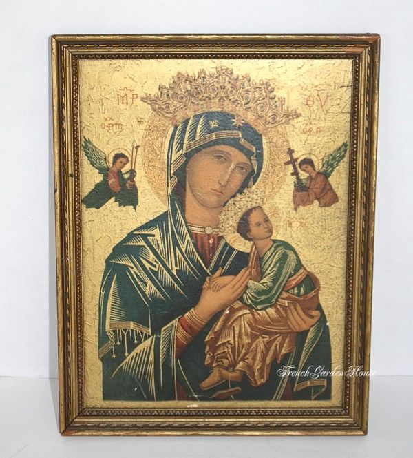 Antique Madonna & Child Print Icon Our Lady of Perpetual Help  ( I have this, should get it out)