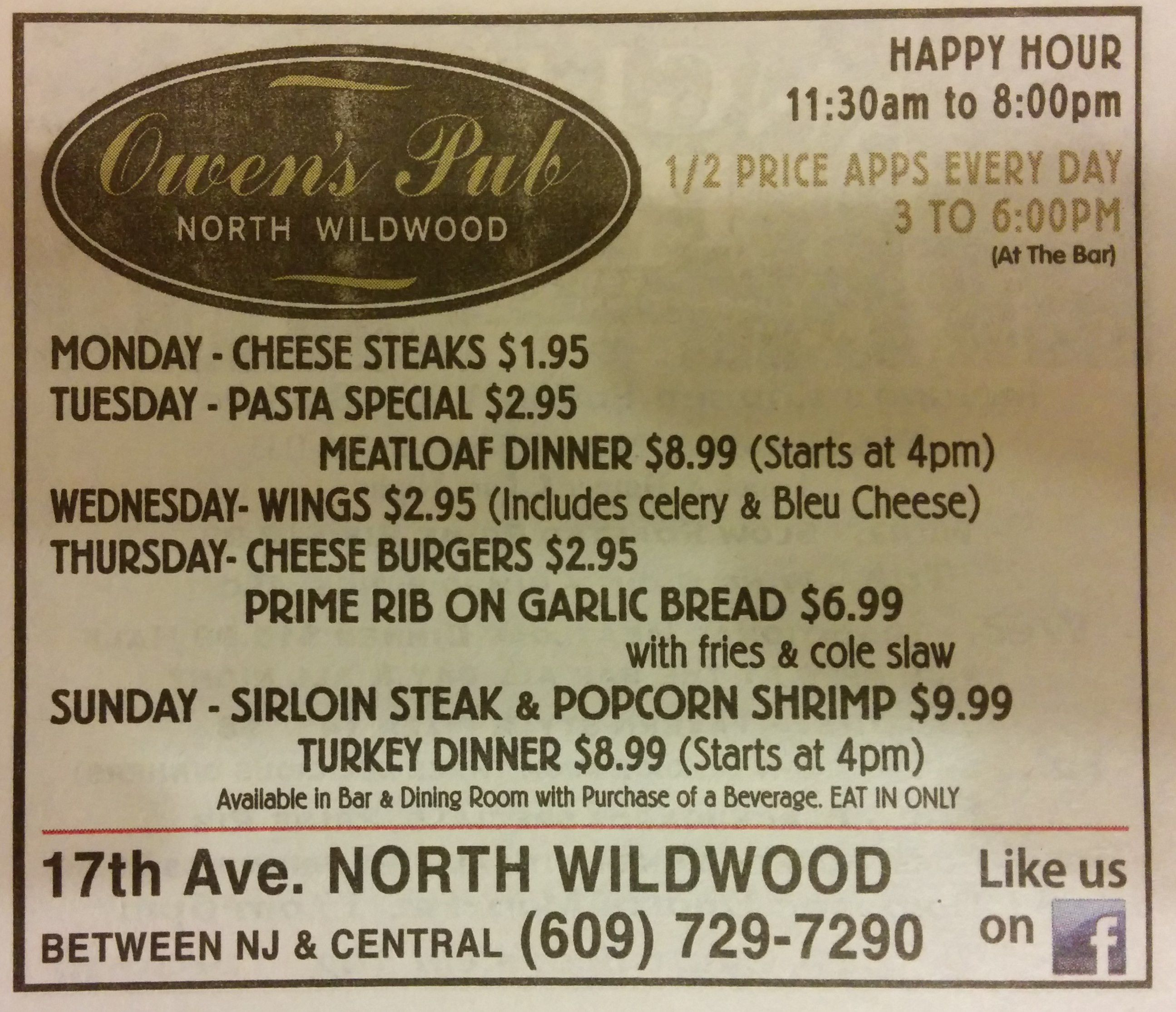 Owen S Pub Specials Good Food Good Prices Newspaper