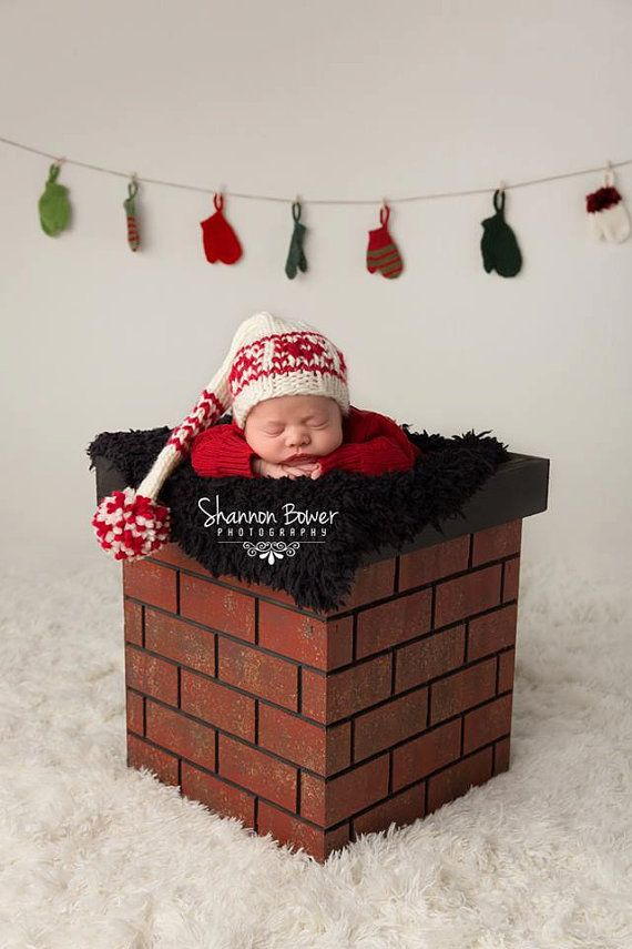 Christmas photo prop christmas prop newborn photo prop chimney prop great for