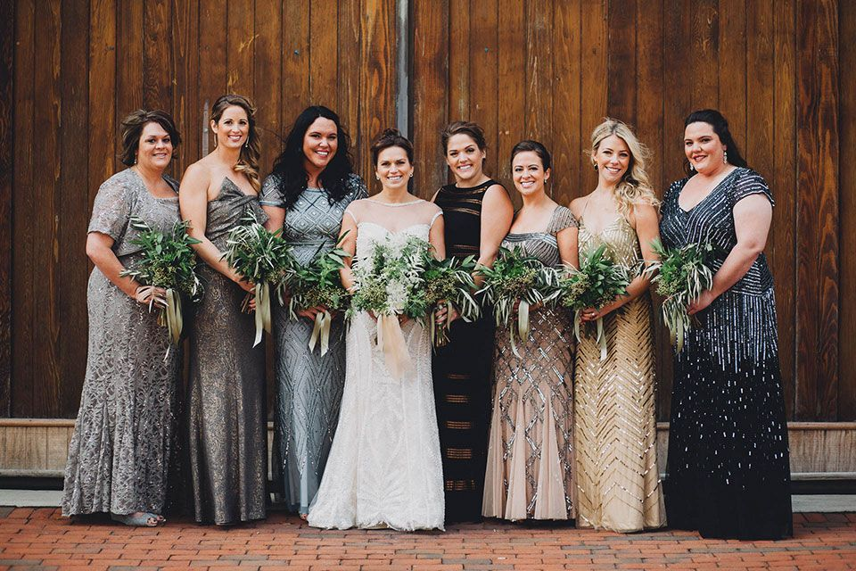 Taylor Greg Brewmaster S Gate Wedding Columbus Ohio Metallic Bridesmaid Dresses Warehouse Wedding Bridesmaid