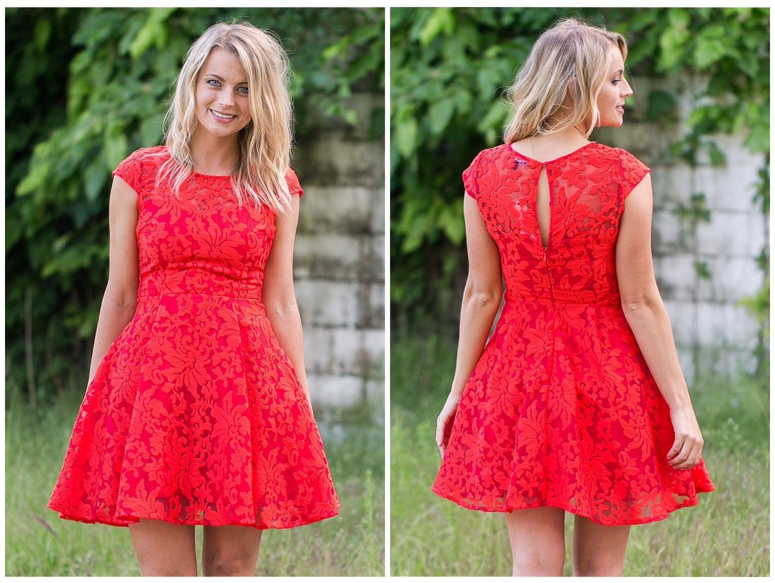 This pretty aline dress comes in a bold tomato color ss