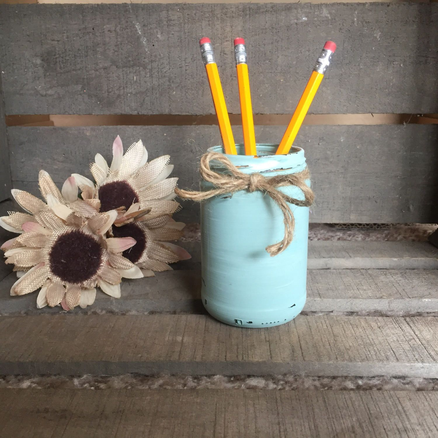 Repurposed Items This Cute Rustic Hand Painted Jar Is Made From Repurposed Items