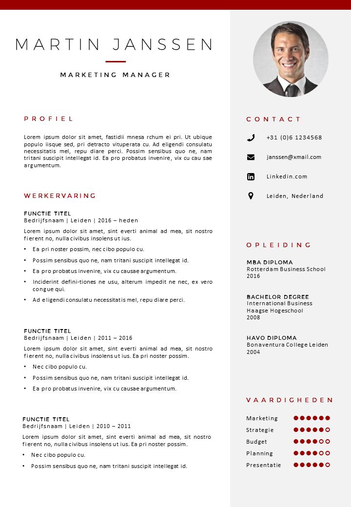 cv titel CV Sjabloon 30 | Resume ideas | Cv template, Cv design template
