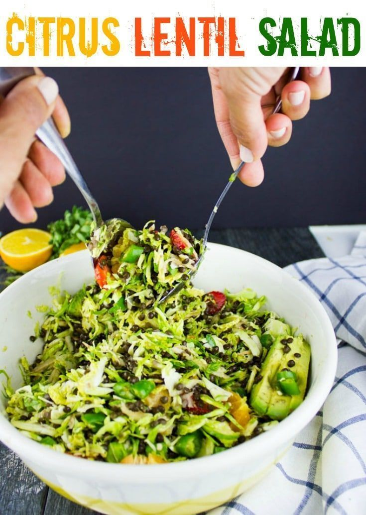 Lentil Salad with Shredded Brussel Sprouts | This gorgeous lentil salad with Brussel sprouts, apples, strawberries and a zesty Orange Dressing makes for a healthy, protein-packed salad, that can be served as a side dish or a light main course! |  via twopurplefigs
