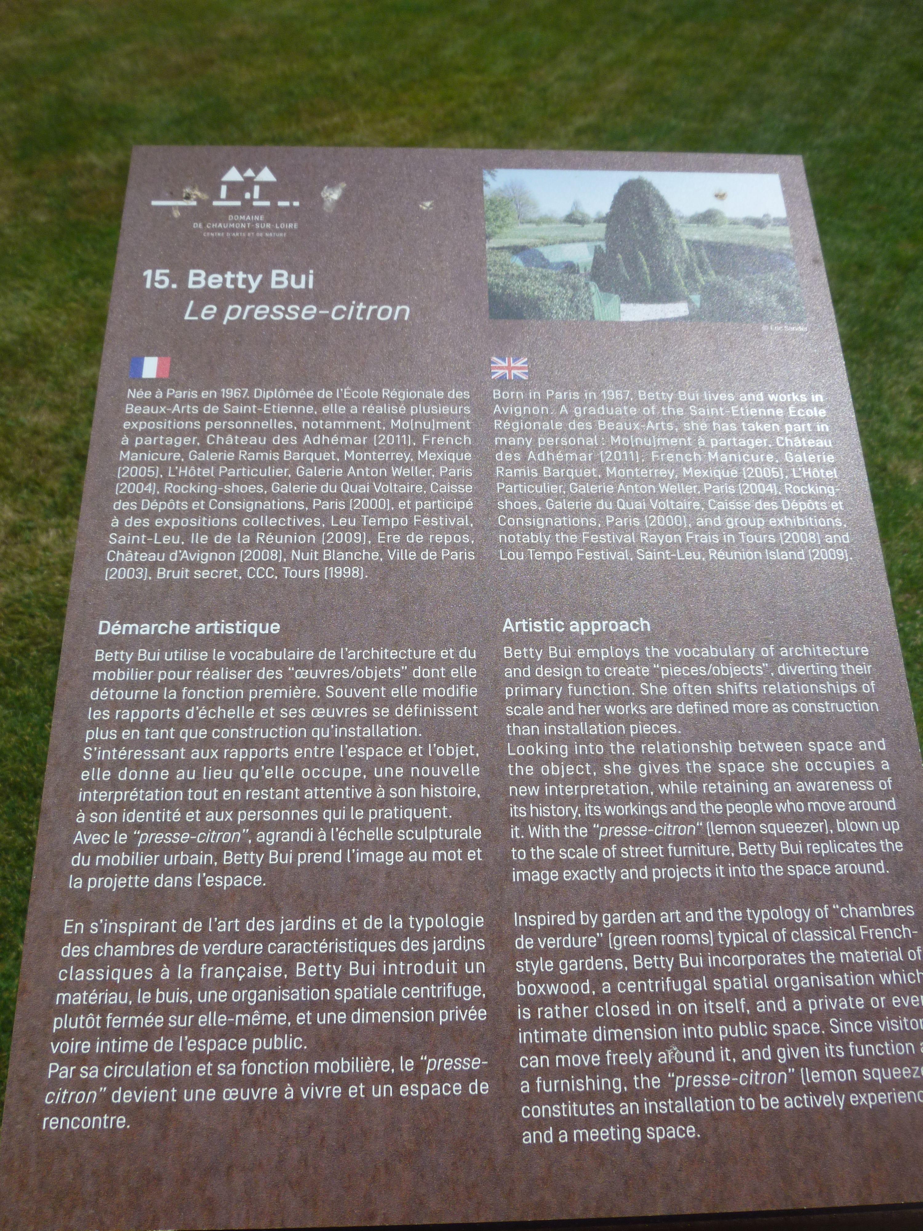 """Jardin Classique À La Française le presse citron"""" - betty bui - prés du goualoup (chaumont"""