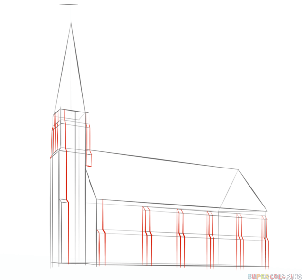 how to draw a church step by step drawing tutorials for kids and beginners
