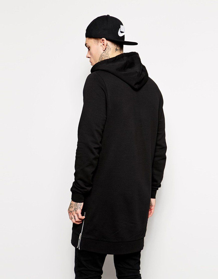 Streetwear Men s Long Black Hoodies Sweatshirts Feece extra long Hoody Side  Zip Longline Hip Hop elongated for men Hoodie 6b2ebdaa6f9