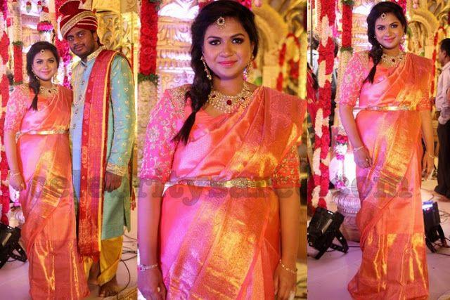 abc3b9799a0b2 Pink Benaras Saree Elbow Blouse - Saree Blouse Patterns