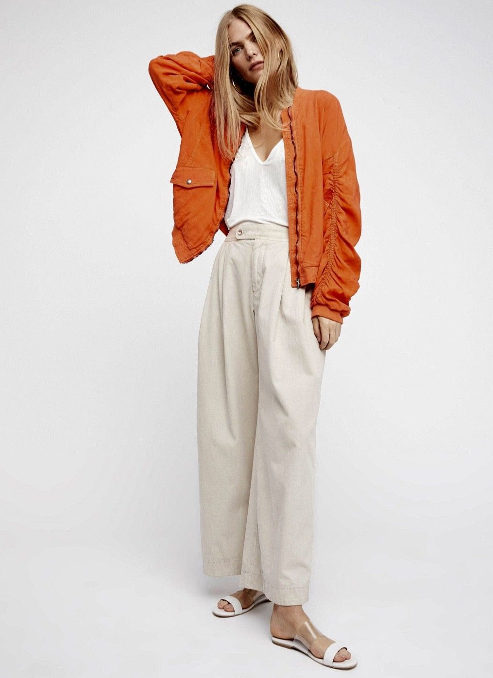 119f04df78058 NWT Free People orange Oversized Ruched Linen Rayon Zipper Bomber Jacket L