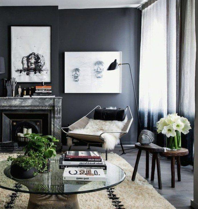 Delightful Magnifique Couleur Peinture Salon Gris Anthracite Et éléments Déco En  Blanc, Décor Plus Rigide,