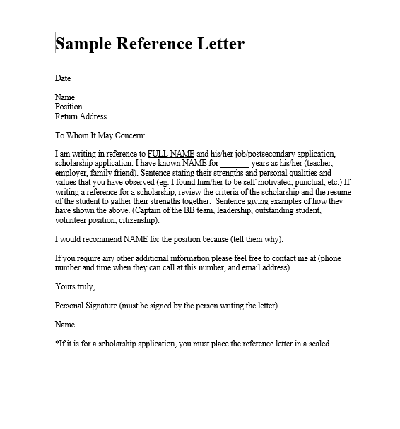 Personal Letter Of Reference Template 4 Standard Reference Templates  Free Word & Pdf  Sampleformats .