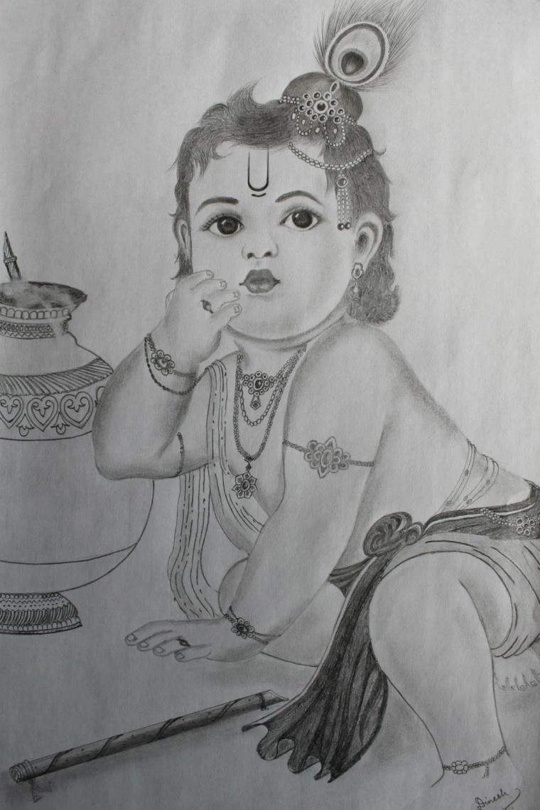 Lord Krishna Pencil Sketches Sketches Krishna Drawing Radha