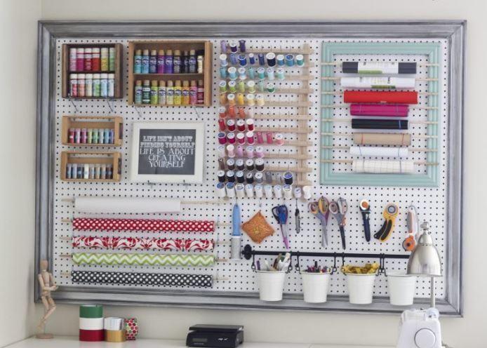 Giant Diy Pegboard Organizer Pegboard Craft Room Craft Room Office Craft Room Design