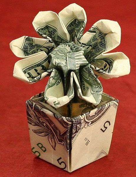 Flower Pot Dollar Bill Orgami Money Origami Dollar Bill