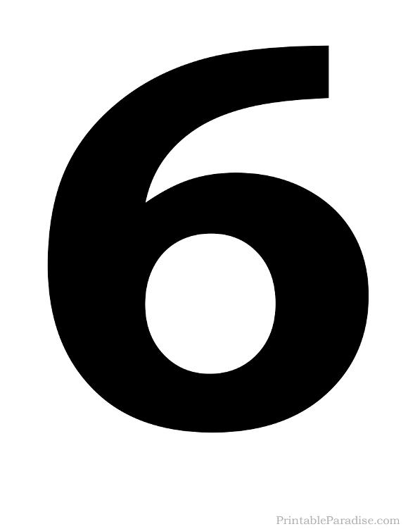 Printable Solid Black Number 6 Silhouette   Number ...