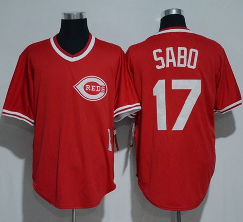 00f073ce5 Mitchell And Ness 1990 Reds  17 Chris Sabo Red Throwback Stitched MLB Jersey