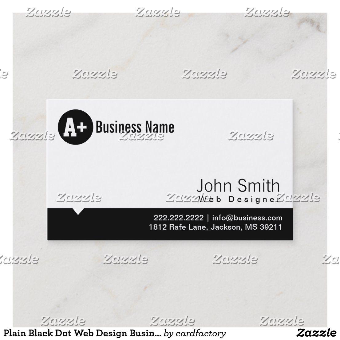 Plain Black Dot Web Design Business Card Zazzle Com Modern Business Cards Business Cards Minimal Business Card Design