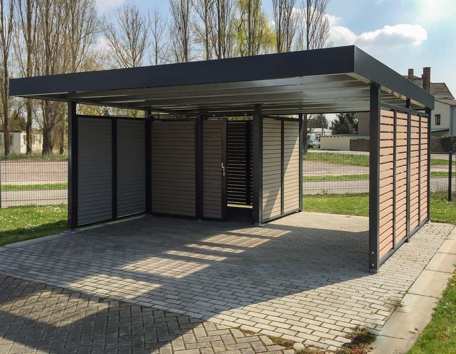 Siebau Doppelcarport Mit Wandelement Wpc Und Ger Teraum Holz Terrassendielen Holzzaun Holzplatte Holzbalken In 2020 Carport Designs Carport Canopy Modern Carport