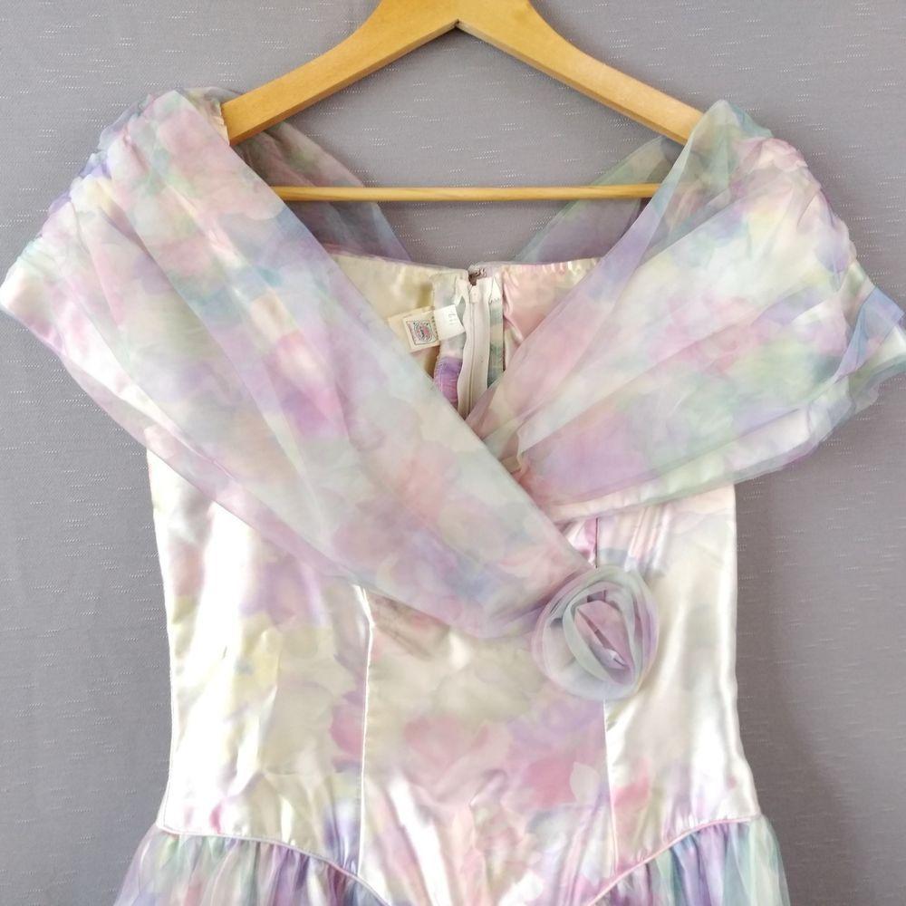 Details about s prom dress pastel floral tea length satin print