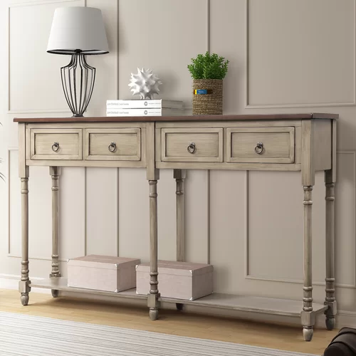 Carlito 58 Solid Wood Console Table Console Table Sofa Table With Storage Wood Console Table