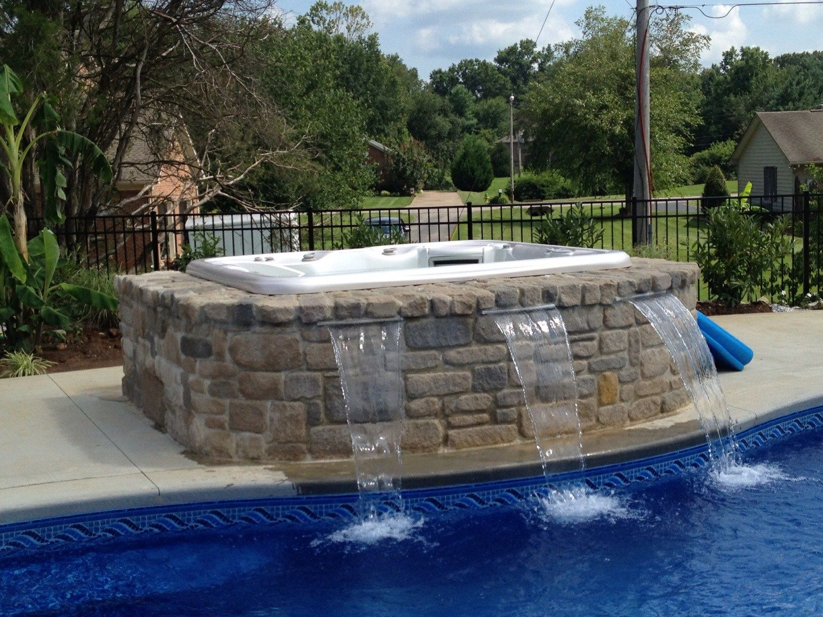 Jacuzzi Swimming Pool Uk Spa Waterfall Into Pool Water Feature Spa Swimming