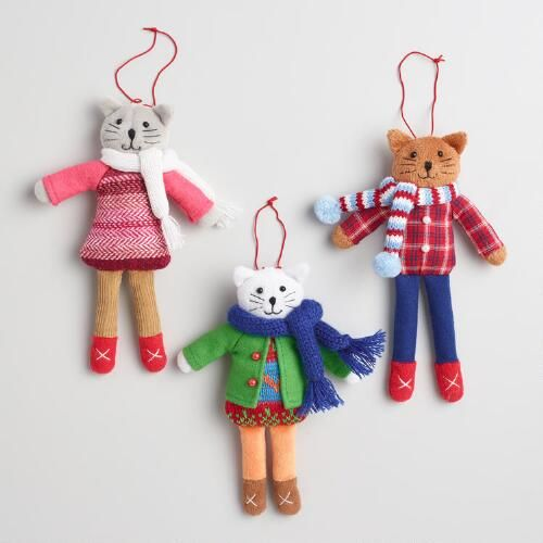 Fabric Holiday Dressed Cat Ornaments Set of 3 | World Market