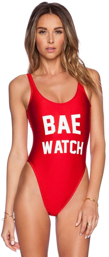 80e3c35b93994 Private Party Bae Watch Swimsuit  bae  watch  baywatch  bathing  suit   funny  red  bay