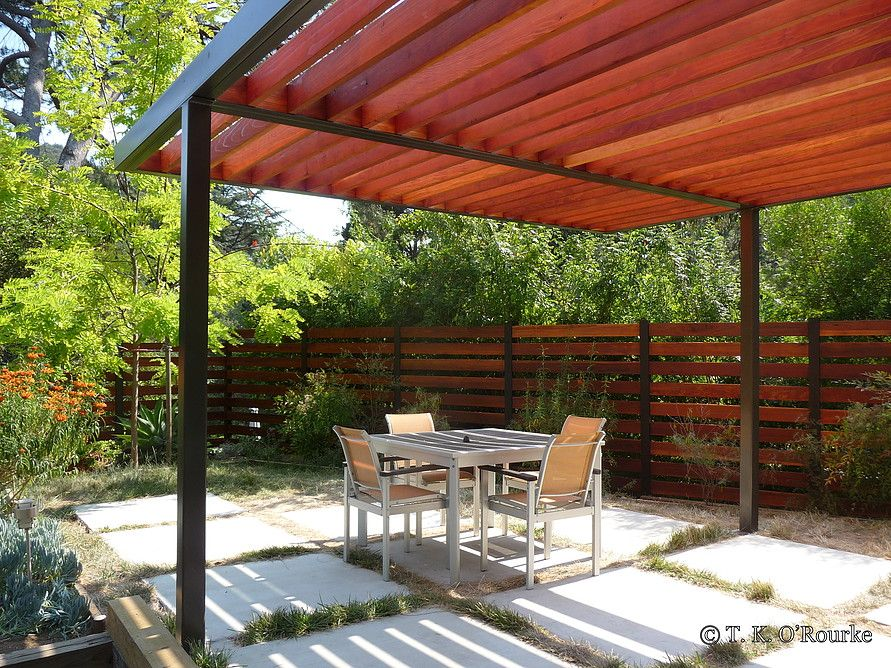 hollywood hills modern steel and wood pergola overhead