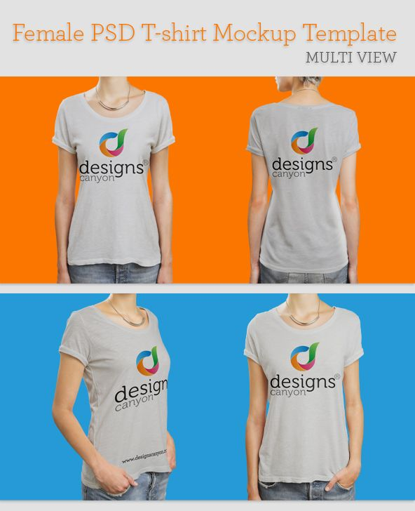 Download Free Female Psd T Shirt Mockup Template Multi View In 2021 Shirt Mockup Tshirt Mockup T Shirt
